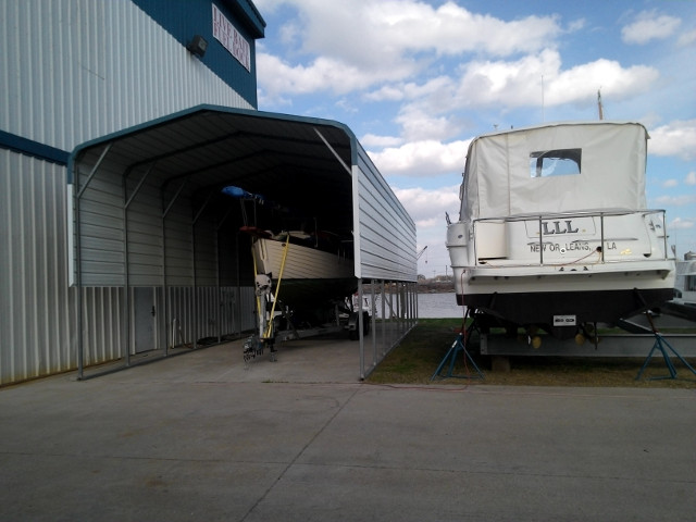 Guen in shed at Seabrook Marina